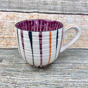 Anthropologie Handpainted  Striped Coffee Tea Mug